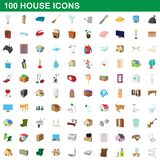 100 house icons set, cartoon style. 100 house icons set in cartoon style for any design illustration stock illustration