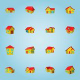 House icons set, cartoon style Stock Images