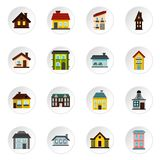 House icons set, flat style. House icons set. Flat illustration of 16 house vector icons for web stock illustration