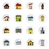 House icons set, flat style. House icons set. Flat illustration of 16 house icons for web Royalty Free Illustration