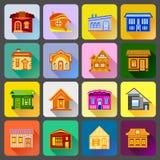 House icons set, flat style Stock Photos