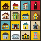 House icons set, flat style Royalty Free Stock Photography