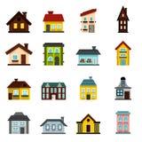 House icons set, flat style Stock Image