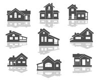 House icons set. In grey and white with reflections for real estate design Vector Illustration