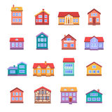 House icons set. Isolated on white background. Flat style vector illustration Stock Photography