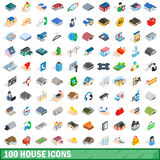 100 house icons set, isometric 3d style Royalty Free Stock Photo