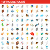 100 house icons set, isometric 3d style. 100 house icons set in isometric 3d style for any design vector illustration Stock Photography