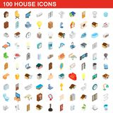 100 house icons set, isometric 3d style. 100 house icons set in isometric 3d style for any design illustration royalty free illustration