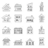 House icons set, outline style Royalty Free Stock Image