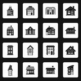 House icons set, simple style Royalty Free Stock Images