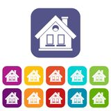 House icons set. Vector illustration in flat style in colors red, blue, green, and other stock illustration