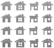 House icons. 16 Unique house icons in different shapes stock illustration