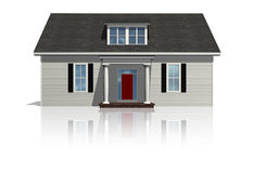 House II. Front view of a plain house on a bright, reflective surface Royalty Free Stock Photos