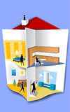 House Illustration. With It's Interior Stock Photo