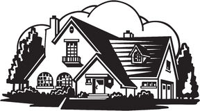 House Illustration. Line Art Illustration of a House Royalty Free Stock Photography