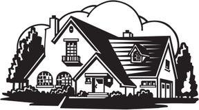 House Illustration. Line Art Illustration of a House vector illustration