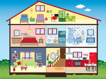 House. Illustration of funny interior house Stock Images