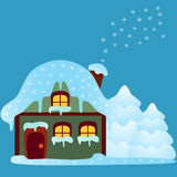 House Illustration, Green House Illustration. Green show house illustration on blue background and showflakes, white snowflakes, snow, blue background, nature Royalty Free Stock Photography