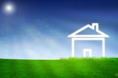 House imagination on green land. Background beautiful blue build House imagination on green land stock photos