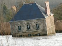 House immersed in the Loire. Contemporary art. Royalty Free Stock Image