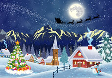 House In Snowy Christmas Landscape At Night Stock Images