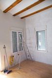 House indoor improvements plater tools and ladder. In real situation royalty free stock photo
