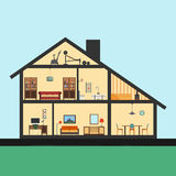 House inside. Detailed modern house interior in cut. Flat style illustration. Rooms with furniture and object.  royalty free illustration