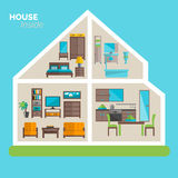 House inside furnishing ideas icon poster. House inside interior design ideas poster for sleeping sitting rooms and kitchen furniture flat abstract vector Royalty Free Stock Image