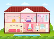 House inside with rooms interiors. Vector illustration in flat design