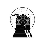 House inside sphere design. House inside sphere icon. Merry Christmas season decoration figure theme. Black and white design. Vector illustration Royalty Free Stock Photos