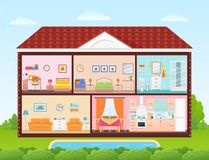 Free House Inside With Rooms Interiors. Vector Illustration In Flat Design Royalty Free Stock Photography - 143478457