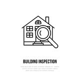 House inspection vector flat line icon. Real estate logo. Illustration of building under glass. Engineering survey Royalty Free Stock Photo