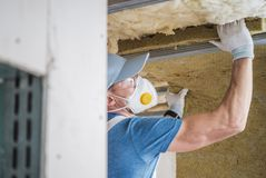 House Insulating by Worker stock photo