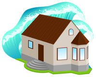 House insurance against floods. High wave covered home. Isolated on white vector 3d icon illustration Stock Images