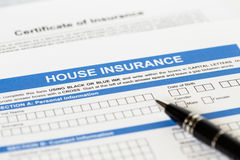 House insurance application with pen Stock Photo
