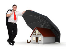 House insurance - Business man - Umbrella. Young businessman standing near a house protected by an umbrella - House insurance Concept vector illustration