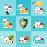 House insurance business service icons template. Property insurance. Big set house insurance. Vector illustration concept of insurance Royalty Free Stock Photography