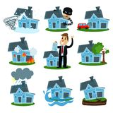 House insurance business service set, property insurance vector Illustrations. Isolated on a white background Royalty Free Stock Image