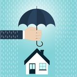 House insurance concept in flat style. House inshuronce, agent's hand holding umbrella over house. Vector illustration Stock Images
