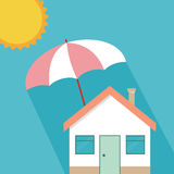 House insurance concept, residential home real estate protection. Flat cartoon house protected under umbrella, home safety security shield  illustration Stock Image