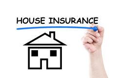 House insurance. Concept text write on transparent wipe board by hand holding a marker Stock Photography