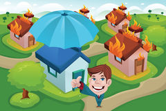 House insurance concept. A vector illustration of house in fire for house insurance concept Royalty Free Stock Image