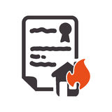 House insurance document design. House home fire insurance seal stamp protection security accident icon. Flat and Isolated design. Vector illustration Royalty Free Stock Images