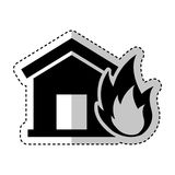 House insurance with fire isolated icon. Vector illustration design Royalty Free Stock Photo