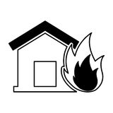 House insurance with fire isolated icon. Vector illustration design Royalty Free Stock Photos