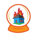 House insurance- fire house in the magic ball. EPS file available. see more images related Royalty Free Stock Photography