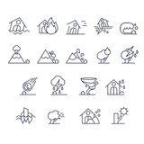 House Insurance Icon Set in Linear Style. Vector Stock Image