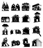 House insurance icons set Royalty Free Stock Images