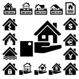 House insurance icons Set. Royalty Free Stock Image