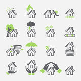 House insurance services icons. Vector Illustrations Stock Photography